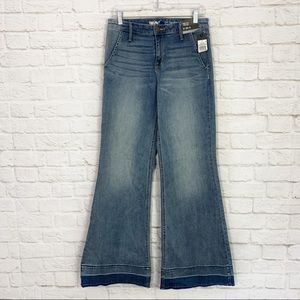 Mossimo High Rise Wide Leg Released Raw Jeans NWT